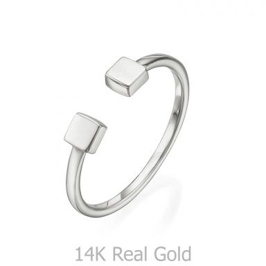 Open Ring in 14K White Gold - Squares