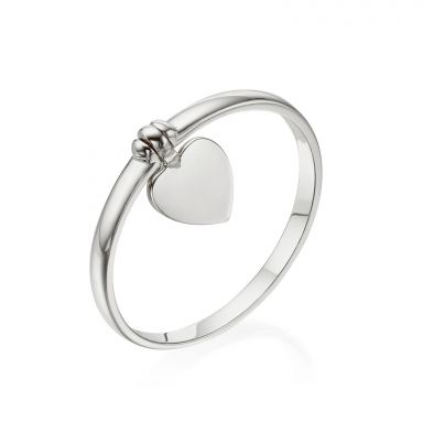 Ring with Charm in 14K White Gold - Heart Charm