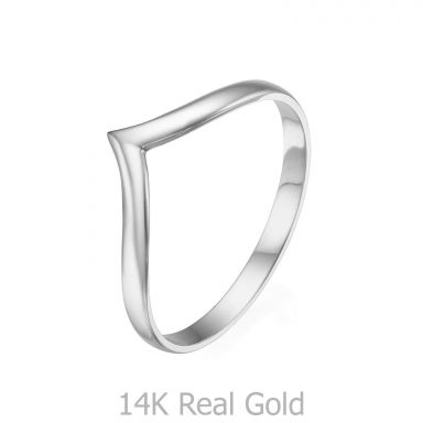 Ring in 14K White Gold - Delicate V