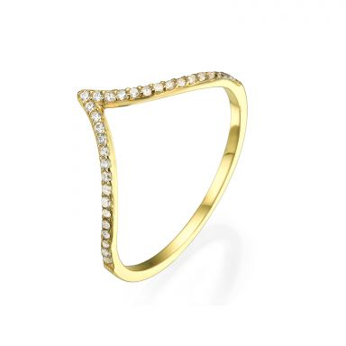 Ring in 14K Yellow Gold - Big V