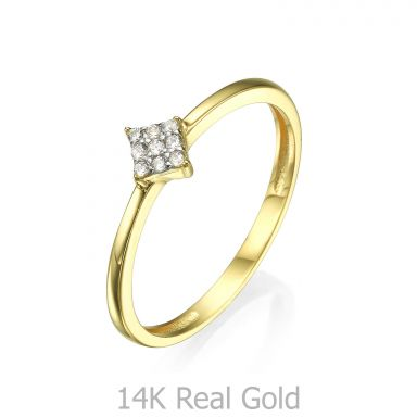 Ring in 14K Yellow Gold - Shiny Rhombus