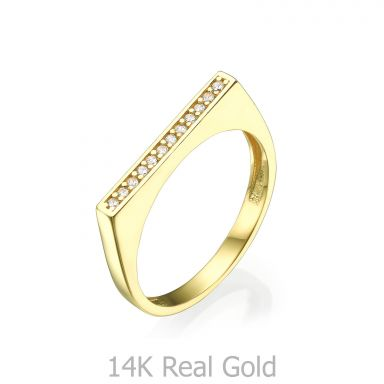 Ring in 14K Yellow Gold - Zirconia line