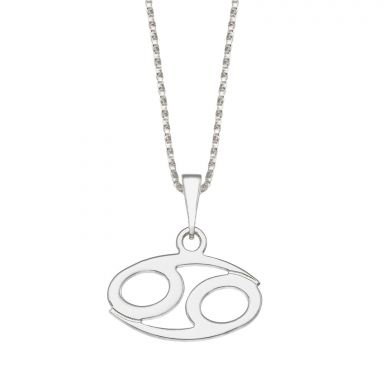 Pendant and Necklace in 14K White Gold - Cancer