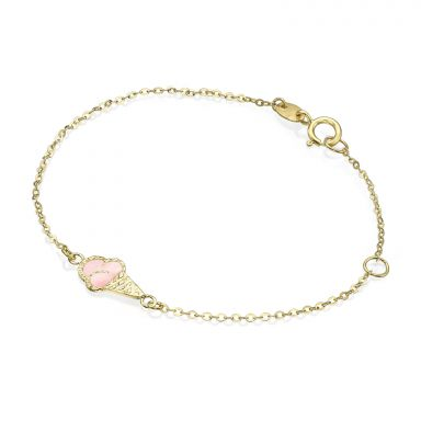 14K Gold Girls' Bracelet - Ice Cream Cone: Pink