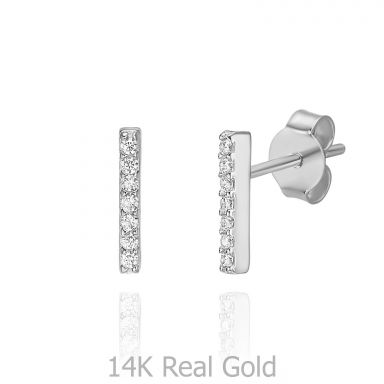 14K White Gold Stud Earrings - Shining Golden Bar