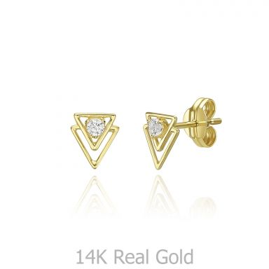 14K Yellow Gold  Stud Earrings - Pyramids