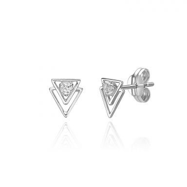 14K White Gold  Stud Earrings - Pyramids