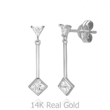 14K White Gold Dangle Earrings - Sunlight
