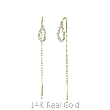 14K Yellow Gold Dangle Earrings - Shining Drop