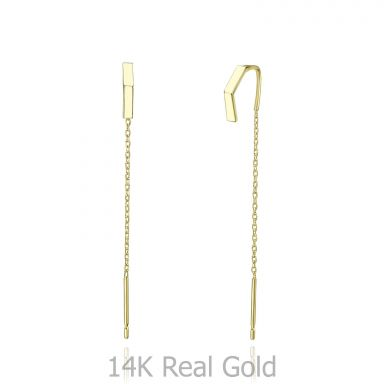 14K Yellow Gold Dangle Earrings - Open Triangle