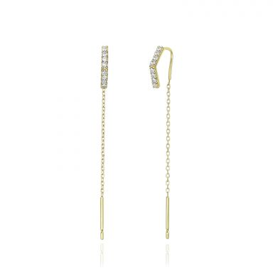 14K Yellow Gold Dangle Earrings- Shining Triangle
