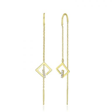 14K Yellow Gold Dangle Earrings - Sparkling Grace
