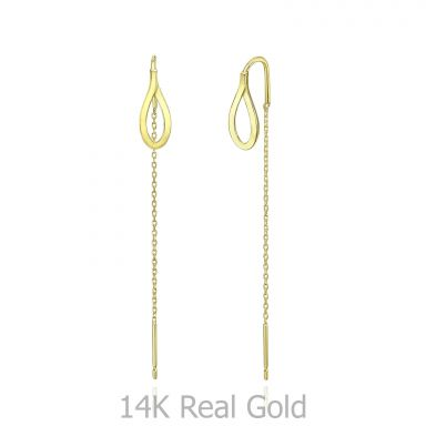14K Yellow Gold Dangle Earrings - Drop