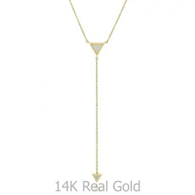 14k yellow gold women's pandants - Dangling pyramid