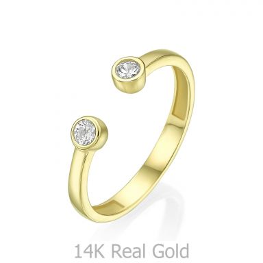 14K yellow Gold Open Ring  - Shiny Dew balls
