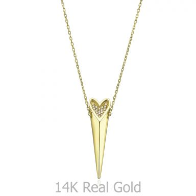 14K Yellow Gold Diamond Women's Pendant - sparkling wild heart