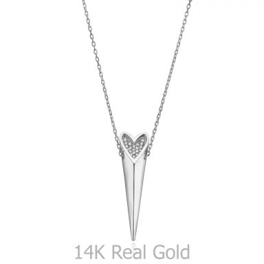 14K White Gold Diamond Women's Pendant - sparkling wild heart
