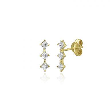 14K Yellow Gold Stud Earrings - Shining Rhombus