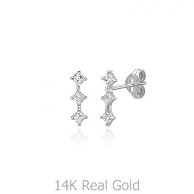 14K White Gold Stud Earrings - Shining Rhombus