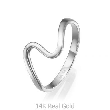 14K White Gold Rings - Wave