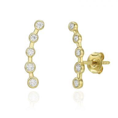 14K Yellow Gold Women's Earrings - Milky Way