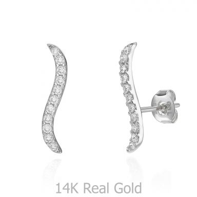 14K White Gold Women's Earrings - Hydra