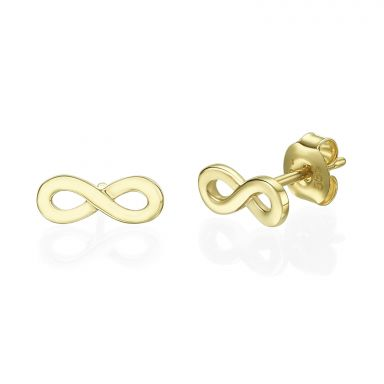 14K Yellow Gold Women's Stud Earrings - Infinity 3D