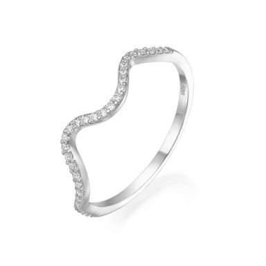 14K White Gold Rings - Sparkling  Wave