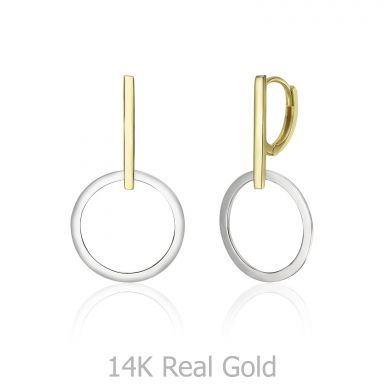 14K White & Yellow Gold Women's Earrings - Mercury