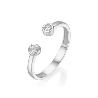 14K White Gold Open Ring  - Shiny Dew balls