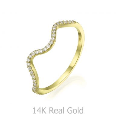 14K Yellow Gold Rings - Sparkling  Wave