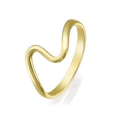14K Yellow Gold Rings - Wave
