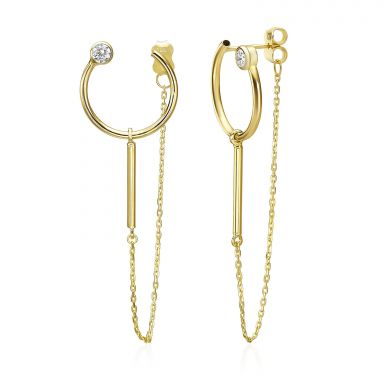 14K Yellow Gold Women's Earrings - Spakling Viola