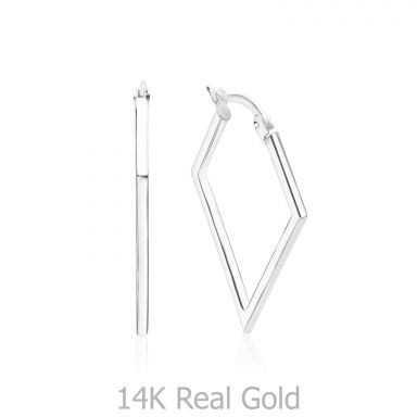 14K White Gold Women's Earrings - Brazil