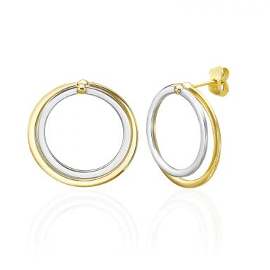 14K White & Yellow Gold Women's Earrings - Eclipse