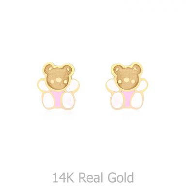 14K Yellow Gold Kid's Stud Earrings - Colorful Teddy - Pink