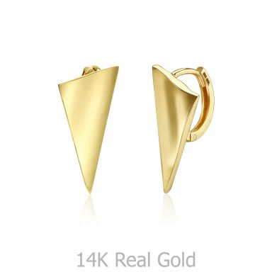 14K Yellow Gold Women's Hoop Earrings - Sail Hoop