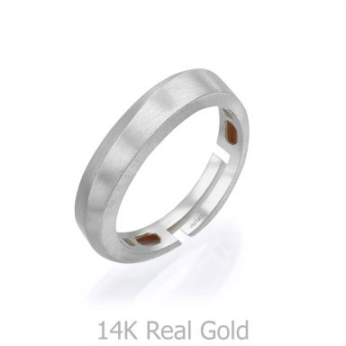 14K White Gold Rings -Gentle Matte Wave