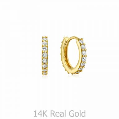 14K Yellow Gold Women's Hoop Earrings - Glittering Athena Hoops S