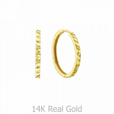 14K Yellow Gold Women's Hoop Earrings - Diamond Engraving Hoop