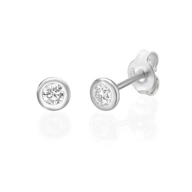 14K  White Gold Diamond Earrings - Chloe M