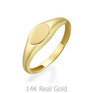14K Yellow Gold Ring - Glossy Oval Seal