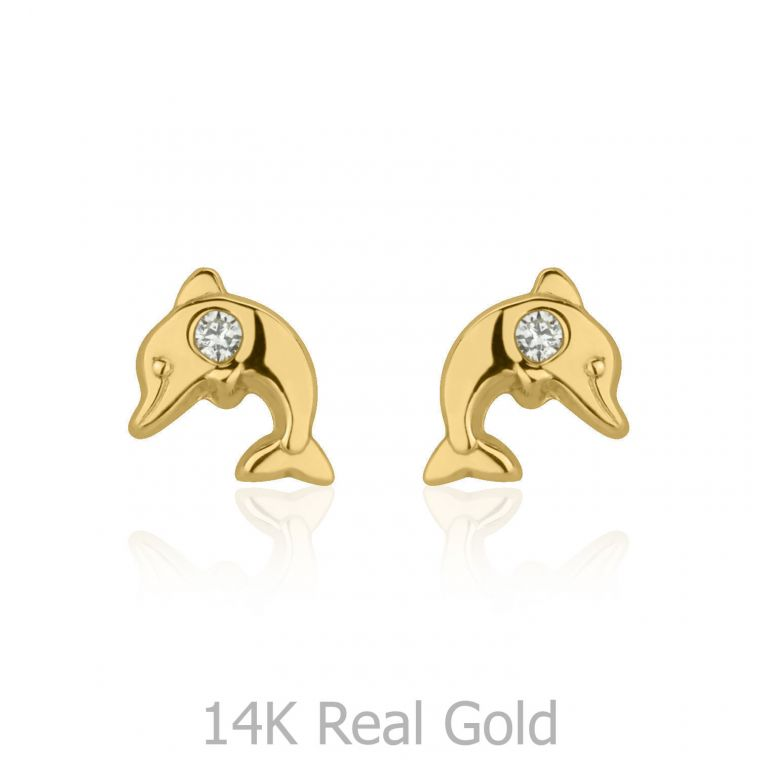 Gold Stud Earrings -  Smiling Dolphin