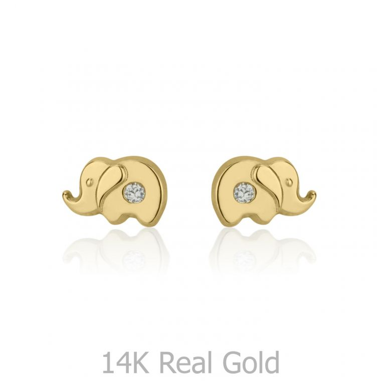 Gold Stud Earrings -  Sparkling Elephant
