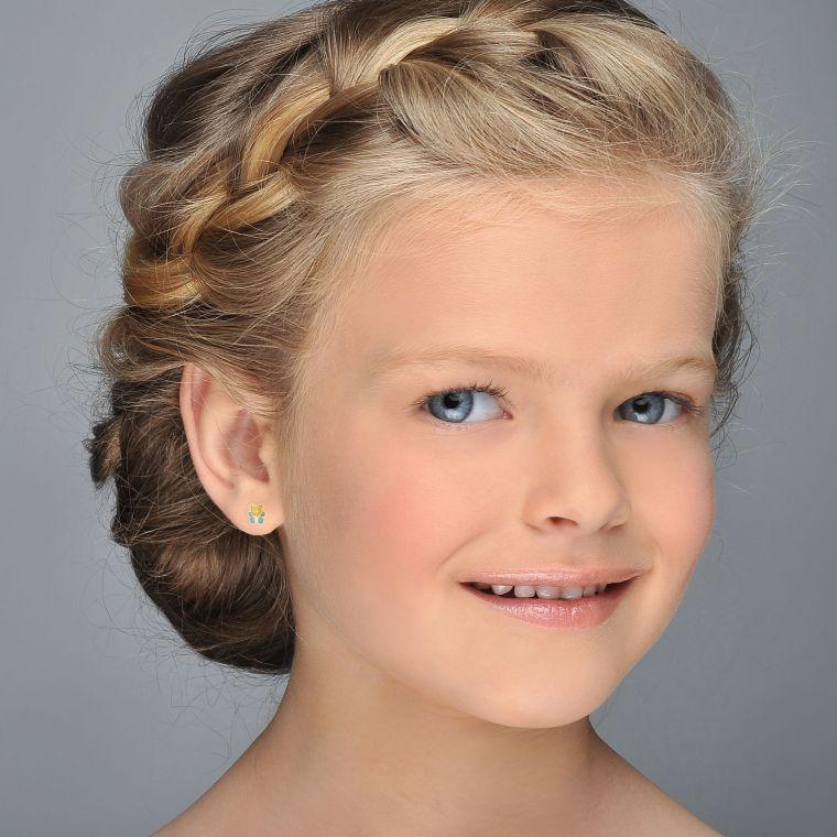 Gold Stud Earrings -  Colorful Teddy - Blue
