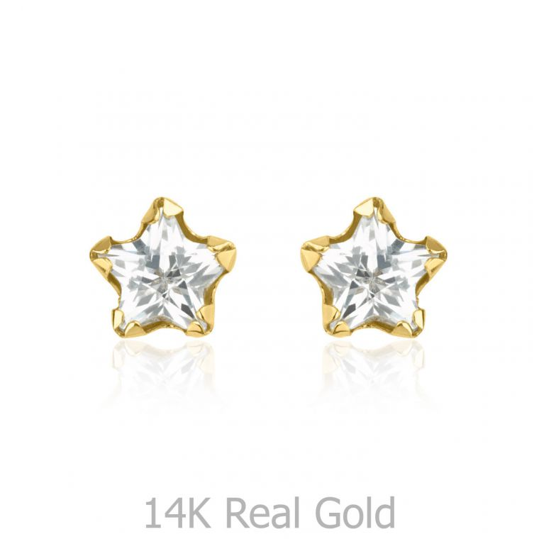 Gold Stud Earrings -  Star of Charm