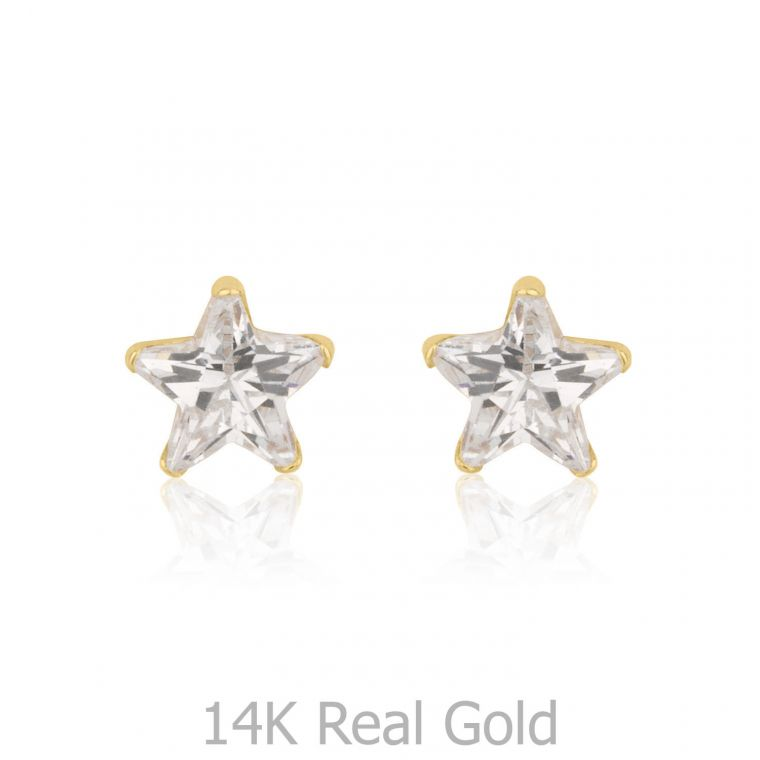 Gold Stud Earrings -  Twinkling Star