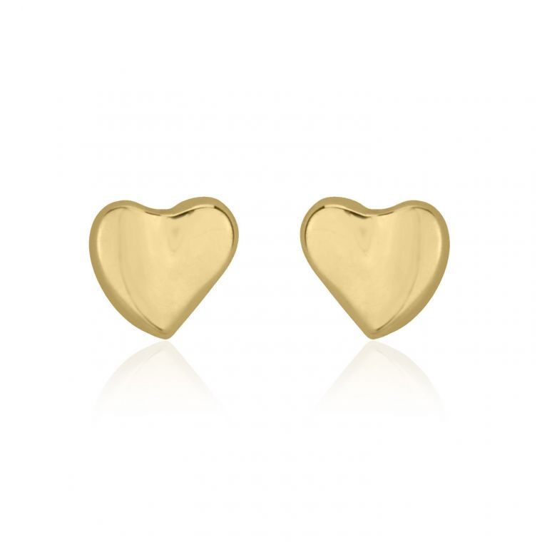 Gold Stud Earrings -  Loving Heart
