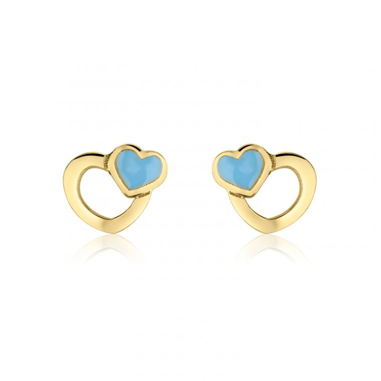 Gold Stud Earrings -  Beloved Hearts