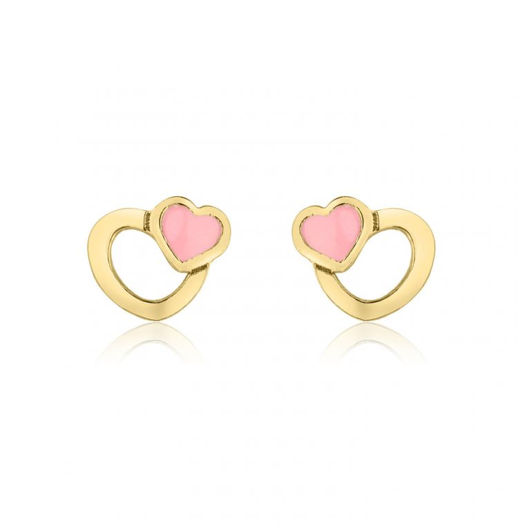 Gold Stud Earrings -  Optimistic Hearts